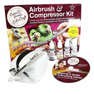 Cassie Brown Cake Craft Decorating Airbrush and Compressor Kit Decor + DVD gift