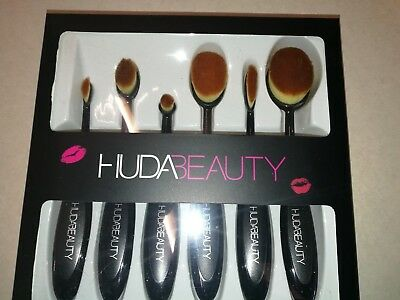 6 Piece HUDA Professional Make Up Brush Set-Includes Contouring Foundation Lips
