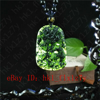 Certified Natural Black Green Jade Dragon Pendant Necklace Fashion Charm Jewelry