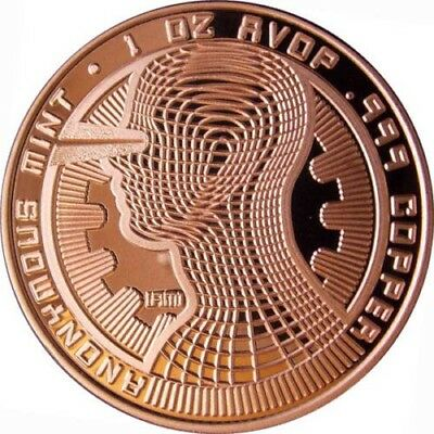 Bitcoin Guardian Commemorative 1 oz .999 Copper BU Round USA Made Bullion Coin