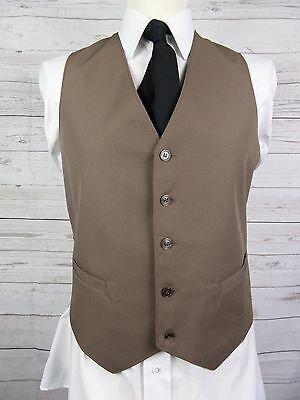 Vtg Mens Single Breast Slim Fit 1970s Brown Waistcoat -36Short- DO35