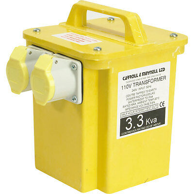 Carroll & Meynell 3.3Kva 240v to 110v Step Down Transformer with 2 16amp Sockets