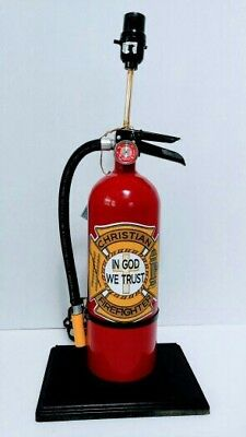 Christian In God We Trust - Fire Extinguisher lamp- real extinguisher