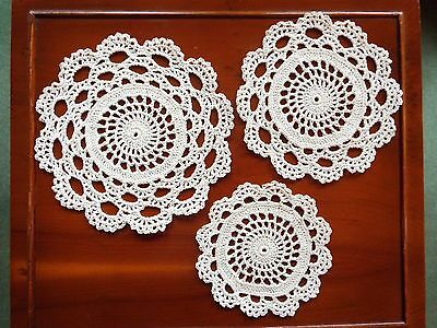 Trio Crochet Cotton White Doilies Coasters for Side Table or Dressing Table