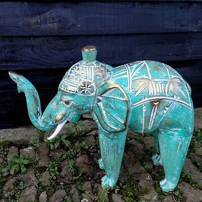 Elephant Wooden Hand Carved Wood Painted Fair Trade Ornament Elephants Gift