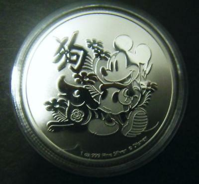2018 $2 1oz New Zealand Niue Disney Chinese Lunar Year of Dog Silver coin