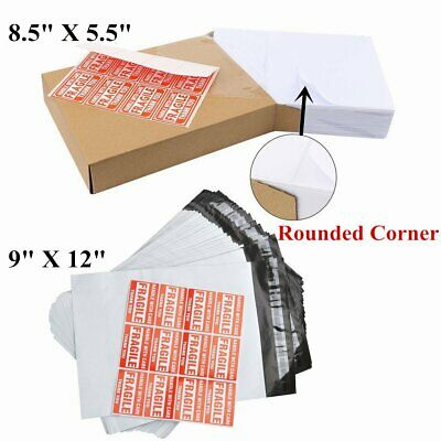 200 Half Sheet 8.5x5.5 labels + 100 9x12 Poly Mailers Shipping Self Sealing Bags