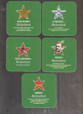 NEW 2017 -- 5 Différents   Sous Bock Beer Coaster Bier Deckel HEINEKEN STAR