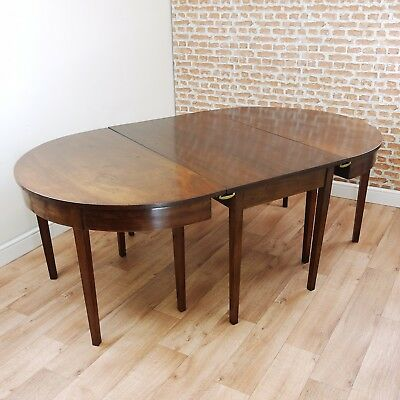 Antique Georgian Solid Mahogany D End Extending 3 Piece Dining Table Original