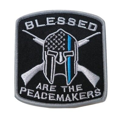 Blessed Are The Peacemakers Thin Blue Line Embroidered Hook & Loop Morale Patch