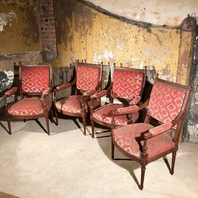Rare set of four French Antique armchairs