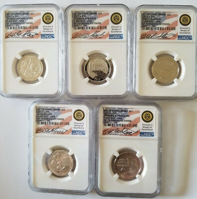 2017-S Quarter Set 225Th Anniv Set Miles Standish Hand Signed Fdi Ana Ngc Sp70