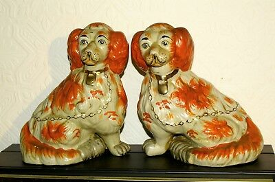 Victorian Staffordshire Fireside Dogs - Chunky Russet Pair, foreleg free,  25cm