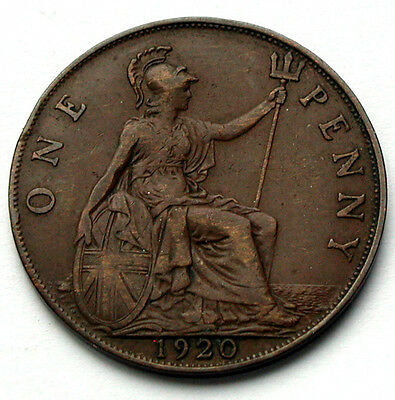 1920 UK (British) George V Coin - One Penny (1d) -