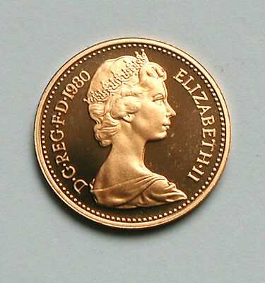 1980 UK (British) Elizabeth II Proof Coin Half Penny (1/2d) gem UNC lustre/cameo