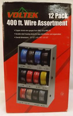 Voltek 12 Pack 400ft Copper Wire Assort in Zinc-plated steel Storage House ~SS2