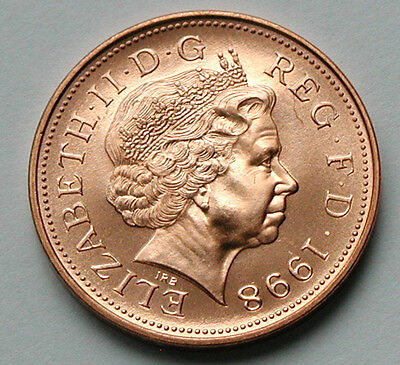 1998 UK (British) Elizabeth II Coin - 2 Pence (2p) - UNC (from mint set)