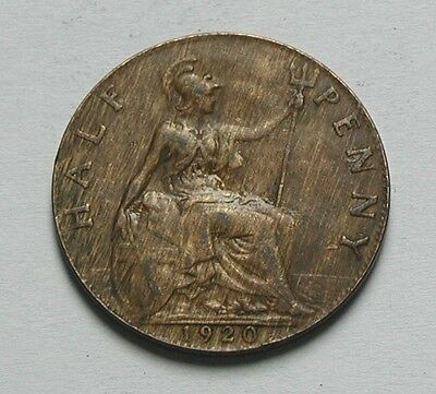 1920 UK (British) George V Coin - Half Penny (1/2d) - woodgrain tone - residue
