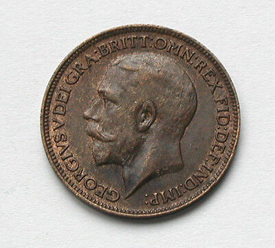 1918 UK (British) George V Coin - Farthing (1/4d) - trace lustre