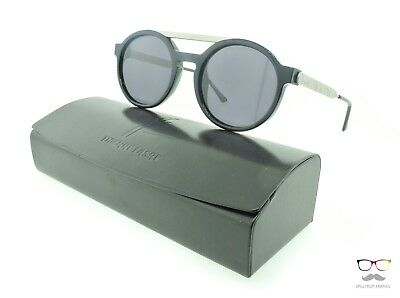 Thierry Lasry Sunglasses Dr WOO 101 Black & Silver Round / Black Flat Lenses