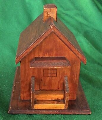 Antique Primitive Bank Wood House w Chimney Slot Handmade
