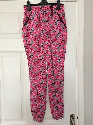 Girls Pink Flower Print Harem Summer Trousers Aged 9-10 Years 💗New💗
