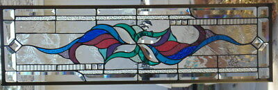 """Stained Glass window hanging 34 1/2 X 10"""""""