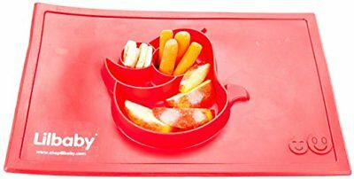 Cute Silicone Mat Baby Kids Suction Table Food Tray Placemat Plate Travel Red