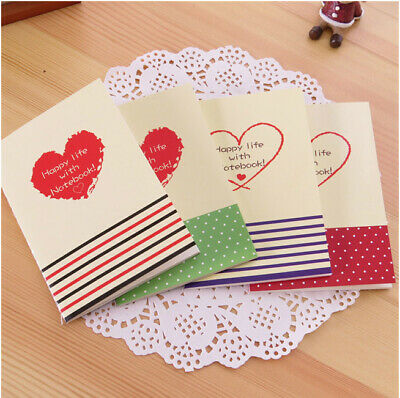4pk Love Hearts Mini Cute Notebooks Small Notepads Pocket Memo Pads Lined Page