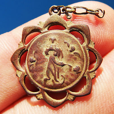 Antique Blessed Virgin Mary Medal Old Spanish Catholic Pendant Found