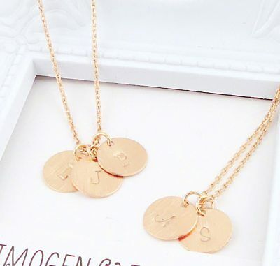 Rose Gold Initial Disc Necklace - Choose Up to 4 Disc Pendants