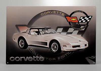 Tin Metal Wall Sign (1982 Corvette Collector Edition Car) GM Licensed