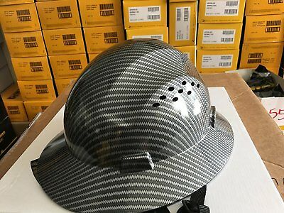 Safety Hard hat HDPE Hydro Dipped Black Full Brim Hard Hat with Fas-trac