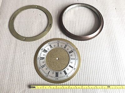 "Large Vintage Clock Face with Heavy Surround/Backplate - Appx 8"" - Spares/Parts"
