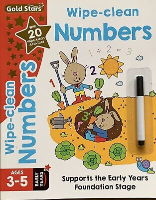 Learn to Write NUMBERS Educational Wipe Clean Book With BLACK Easy Dry Erase Pen