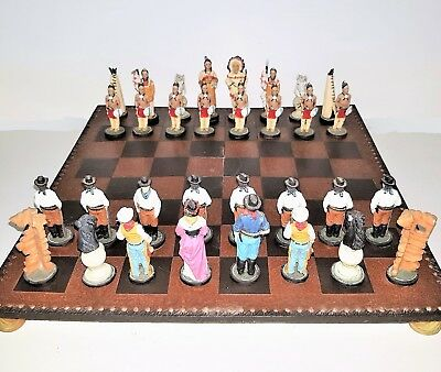 American Wild West Chess Set with Glass Board, Native Indian & Settler Pieces