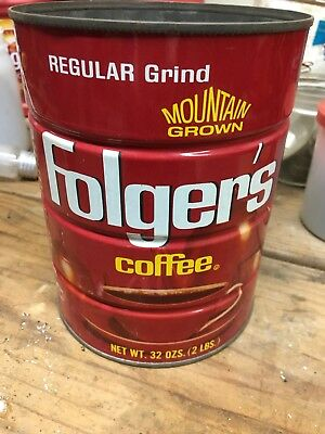 Vintage Folgers Regular Grind Mt. Grown Coffee Tin Can 32 oz (2 lbs)
