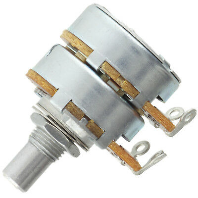 "Alpha Dual 3/8"" Bushing Potentiometer 250K Log/Audio 1/4"" solid shaft solder tab"