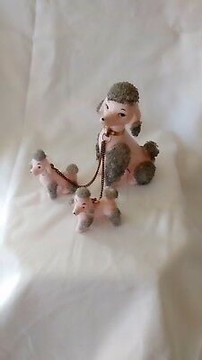 PINK POODLES With Grey Beads Mother and Pups figurine, porcelain LEFTON Vintage