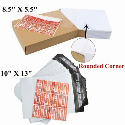 200 Half Sheet 8.5x5.5 labels + 100 10x13 Poly Mailer Shipping Self Sealing Bags