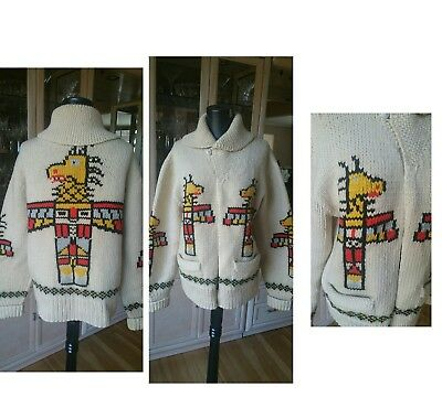 Vintage Cowichan Sweater Totem Pole  Cardigan Wool Sweater Medium * Needs Zipper