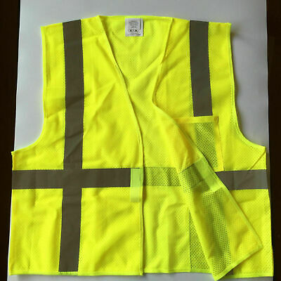 L XL XXL XXXL High Visibility Neon Safety Vest w / Reflective Strips With Zipper