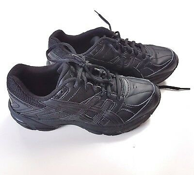 ASICS US 5 23.5cm Gel 190TR Leather Junior Cross Training Shoes Solid Black