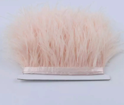 Palest Peach Pink Ostrich Feather Fringe Ribbon Trim Price for 30cm DIY Craft