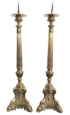 Pair Of English Victorian Brass Cathedral Sticks