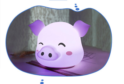New chargeable touch cartoon pig 7color night light Silicone Lamp Christmas gift