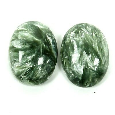 Superb 16.5 Cts Natural SERAPHINITE Oval Cabochon Pair Gemstone 16x12 mm S-31107
