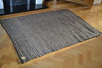 Cotton Jute Chocolate Brown Soft Rug Runner Chindi Large 120x180cm Natural 4'x6'