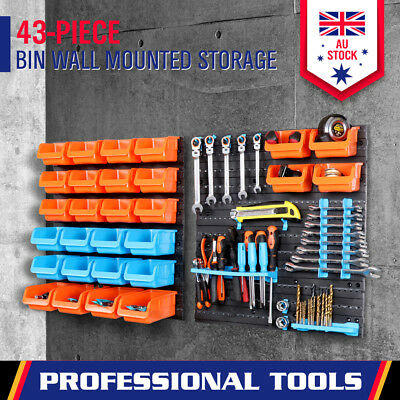 43PC Garage Storage Tool Bins Workshop Part Organizer Box & Wall mounted Boards