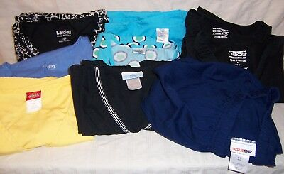 Scrubs, lot of 9 - size large - two print & six solid tops, one navy pant